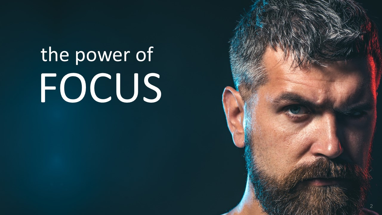 Power of Focus - A man's face clearly with intense focus