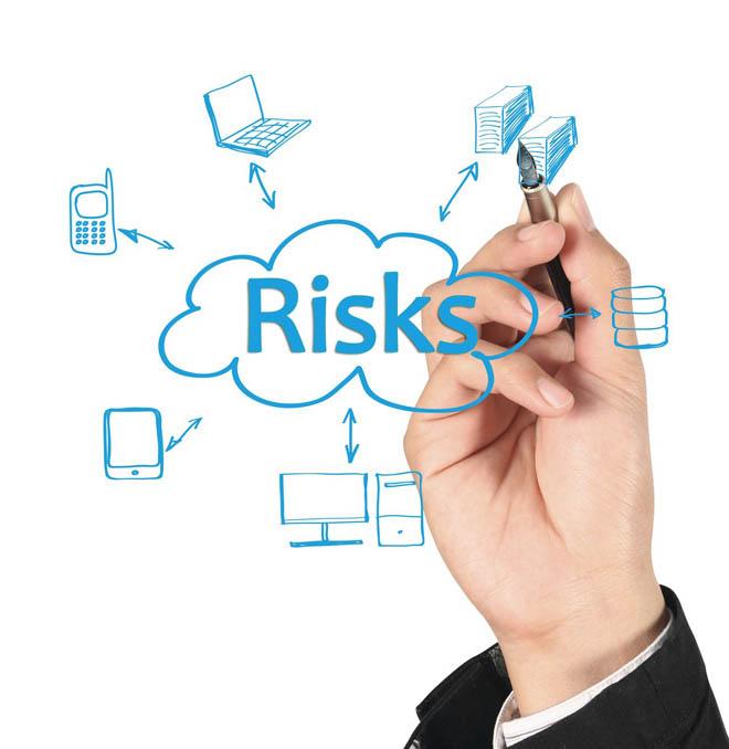 Hand illustration of different risks
