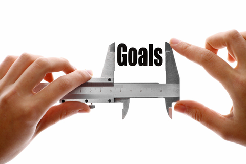 image of hands holding a caliper with the word goals in between