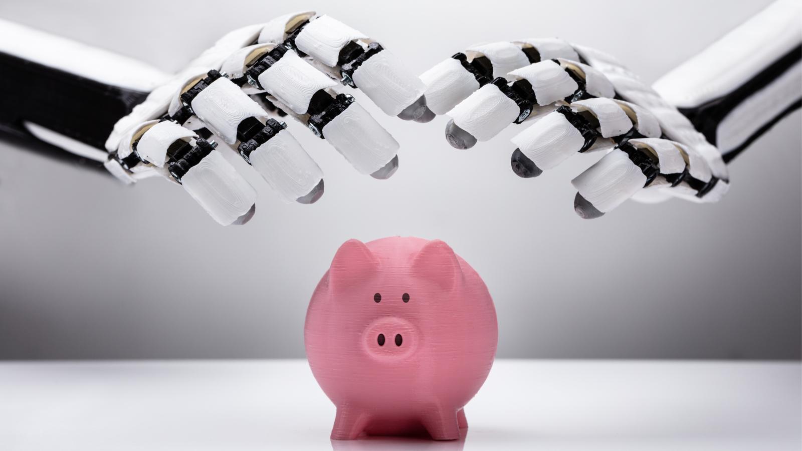 robot hands hovering over a piggy bank